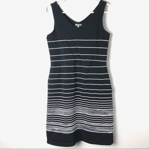 T by Talbots Black & White Striped Dress Small